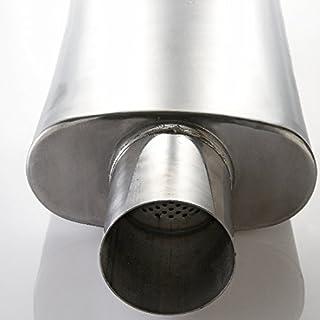 Arlows 70mm Universal Edelstahl Schalldämpfer oval 100mm x 180mm Länge= 350mm