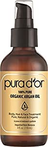 Pura D'or Pure and Organic Argan Oil, Brown and Gold