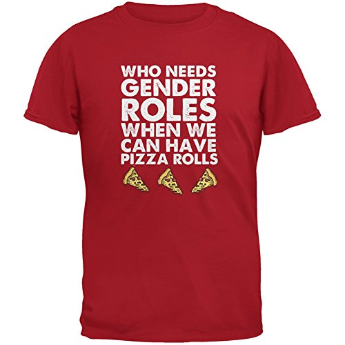 who-needs-gender-roles-pizza-rolls-red-adult-t-shirt-medium