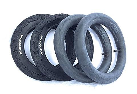 2x Mantel 12 1/2 x 2 1/4 (62-203) und Schlauch Reifen gerades Autoventil Kinderwagenreifen Ersatzreifen für Kinderwagen KENDA 12