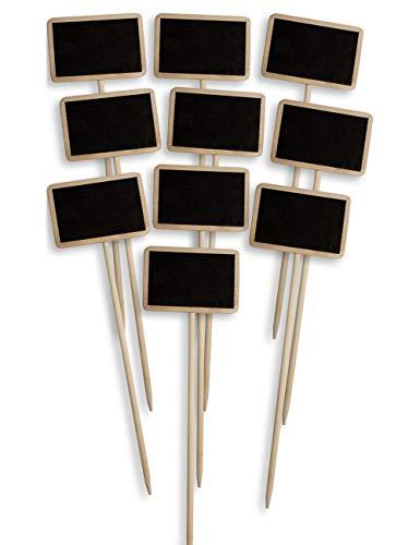 HomeTools.eu® – 10x Klassische Holz Pflanz-Schilder | Beet Balkon Kräuter-Garten Blumen-Kübel | Landhaus | beschreibbar, 25cm, 10er Set