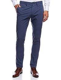 oodji Ultra Hombre Pantalones Rectos de Algodón