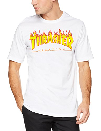 Thrasher trutsh05749, t-shirt uomo, bianco (bianco/fiamme), small (taglia produttore:s)