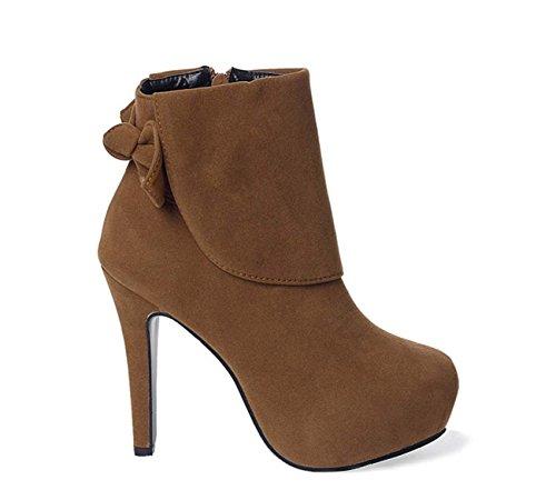 FARALY Scarpe Da Ginnastica Con Tacco A Ginocchio In Tartan Di Matita Autunno Inverno Stiletto Heel Short Bow Boots Brown