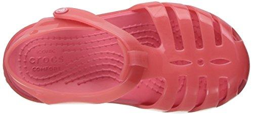 Crocs 204035, Ballerines à Bout Fermé Fille Rouge (Coral)