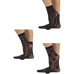 CALZITALY 3 PARES Calcetines de mujer | Mini medias semi transparentes | Fantasía Lunares, Rayas Verticales, Cuadros | Negro | Talla Unica | 100% Made in Italy | (NEGRO)