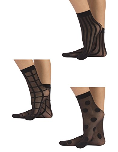 CALZITALY 3 PARES Calcetines mujer | Mini medias semi