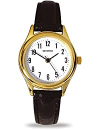 Sekonda Women's Quartz Watch with White Dial Analogue Display and Black Leather Strap 4493.27