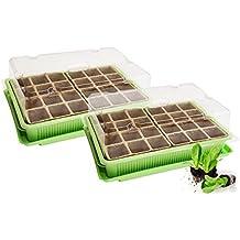 Quantio 2X Mini Gewächshaus - für bis zu 48 Pflanzen, ca. 27 x 19 x 10 cm (LxBxH) je Zimmergewächshaus, grün/transparent, Kunststoff/Zellulose