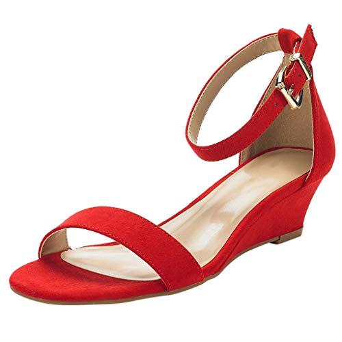 Frauen Knöchelriemen Schnalle Mittlere Keile Sandaletten 4CM Sommerkleid Sandalen Schwarz Beige Rot Mode Pump Schuhe Open Toe Wildleder Elegante Plateauschuh - Hi Heel Open-toe