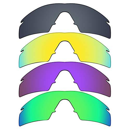MRY 4Paar Polarisierte Ersatz Lenses für Oakley M Frame Strike sunglasses-black Iridium/24K Gold/Plasma violett/Smaragd Grün