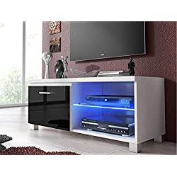 Comfort Home Innovation - Meuble de télévision LED, Salon-Salle à Manger, Blanc et Noir Laqué, Dimensions: 100 x 40 x 42 cm de Profondeur.