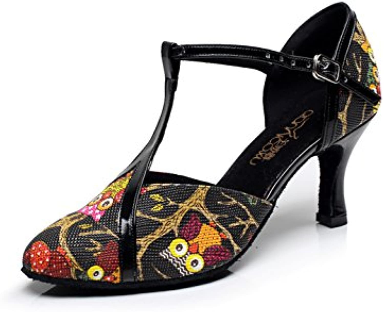 JSHOE Para Mujer Latin Dance Cerrado Dedo Del Pie Tacón Alto Salsa Tango Modern Jazz Shoes Sandalias,Black-heeled7.5cm-UK7...