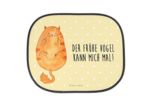 Mr. & Mrs. Panda Auto Sonnenschutz Katze Frühaufsteher - 100% handmade in Norddeutschland - Katze, Frühaufsteher, Kater, Geschenk, Kinder, Rücksitz, Morgenmuffel, Sonnenblende, Katzen, Fenster, Der frühe Vogel kann mich mal, Mietze