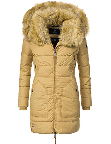 Marikoo Damen Winter-Mantel Steppmantel Knuddelmaus (vegan hergestellt) Camel Gr. M