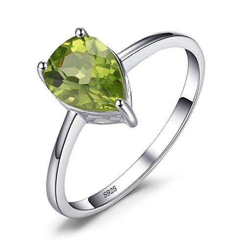 JewelryPalace Anillo de Compromiso Solitario 1.3ct Pera Genuino Peridoto verde Piedra de nacimiento Plata de ley 925 Tamaño 17