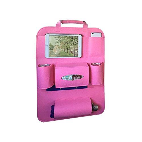 Auto Organizer Rücksitz Schutz Rückenlehnenschutz Taschen AutomobilePocket Cup Verstauen Aufräumen Fahrzeug Reise-Innenausstattung, 1pc Pink