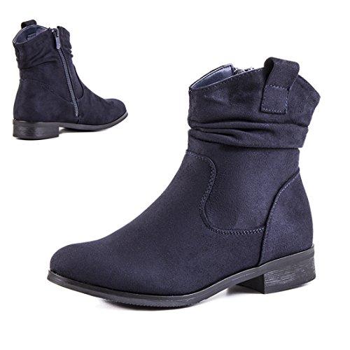 Basic Damen Stiefel Stiefeletten Western Biker Boots in hochwertiger Lederoptik Navy