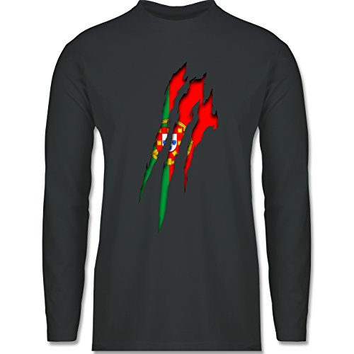 Shirtracer Länder - Portugal Krallenspuren - Herren Langarmshirt Dunkelgrau