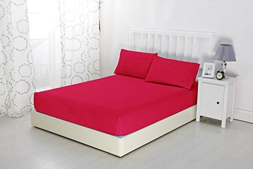 Sonia moer, lenzuolo con angoli elasticizzati in morbida microfibra, non si stira, elegante, red, doppio
