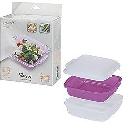 Whirlpool STM008-Accessoire de cuisson pour Micro-ondes (cuiseur vapeur, Violet, Blanc, Blanc)