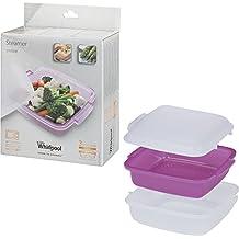 Whirlpool STM008 - menaje para microondas (Steamer, Púrpura, Color blanco, Color blanco)