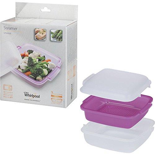 Whirlpool STM008–Accessoire de cuisson pour Micro-ondes (cuiseur vapeur, Violet, Blanc, Blanc)