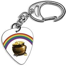Olla de oro Rainbow Logo Púa De Guitarra Llavero (GD)