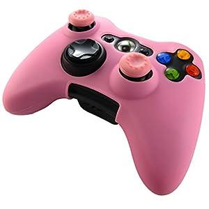 Pandaren® Silikon hülle skin für Xbox 360 controller (rosa) x 1 + thumb grip aufsätze x 2