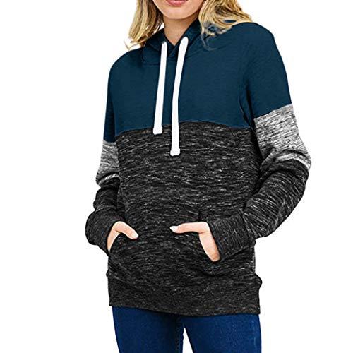 Hoodie Pullover Damen Dasongff Herbst Winter Kapuzenpullover Sweatshirt Lässige Winterpullover Patchwork Jacke Mantel Tops Mode