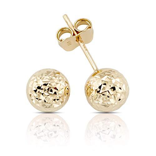Ohrstecker Kugel diamantiert Italienisch Ohrschmuck 14 Karat 585 Gelbgold (14k Für Ohrringe Gold Frauen-stud)