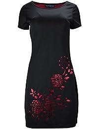 Ladiesblack Kurzarm-Kleid mit Blumenmuster drucken