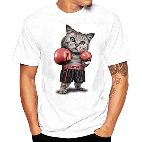 Fuibo Homme T-Shirt À la Mode Creative à Manches Courtes Impression Chat Mignon de Kung Fu Occasionnel Tees … (L, Blanc)