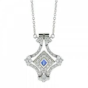 Halskette aus Sterlingsilber mit Medaillon aus Tansanit und klaren Zirkonias