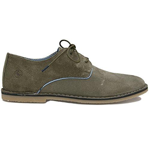 El Ganso Bajo Guerrero Ante Marron y Verde. Zapato de Cordones Para Hombre. (41 EU, (Ante) Green)