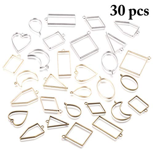 Outgeek Frame Pendants, Outgeek 30PCS Bezel Charms Pendants Open Back Bezel Pendants Hollow Mold Pendants Assorted Geometric Hollow Pressed Flower Frame Pendant DIY Crafts for Resin Earrings Necklace