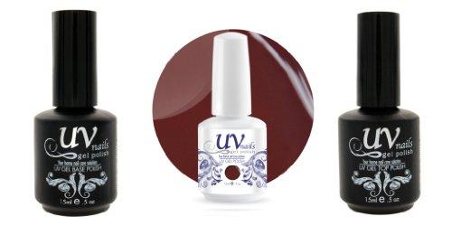 UV-Nails Vernis a Ongles Soak-Off Gel 15ml Howl at the Moon G42+Base & Top Coat+Polissoir & Lime a Ongles Aviva
