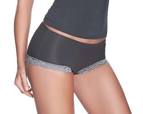 e.FEMME® Damen Panty Lilka 650 mit Spitzeneinsatz aus seidenweichem Lenzing Micromodal, in verschiedenen Farben Schwarz