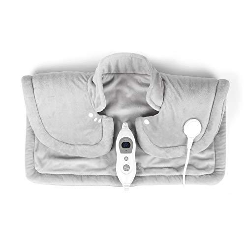 VIDABELLE VD-4572 Vidabelle Schulter- und Nackenheizkissen in hell grau, Heizkissen mit 6 Temperaturstufen, elektrisches Heizkissen mit abschaltautomatik, Wärmekissen ist maschinenwaschbar