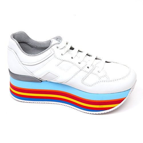 D0606 sneaker donna HOGAN H283 scarpa H grande bianco/multicolore shoe woman Bianco