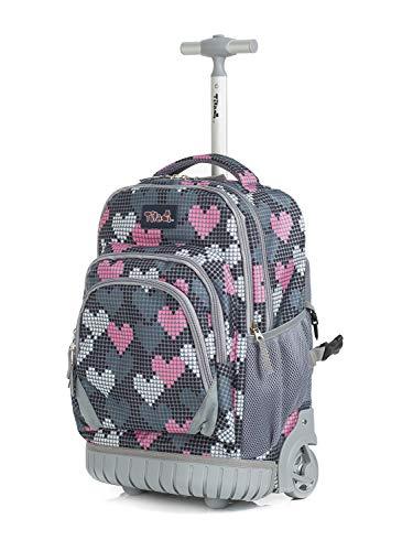 Rucksack mit Rollen für Mädchen,Tilami Schultrolley Schultaschen Schulrucksack Trolley für Kinder Junge und Mädchens Klasse 3-12 Herzen