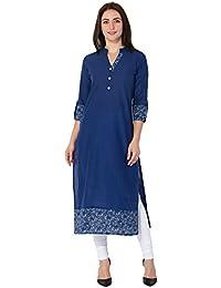 M&D Casual Cotton Printed Women's Kurtistraight (Blue)