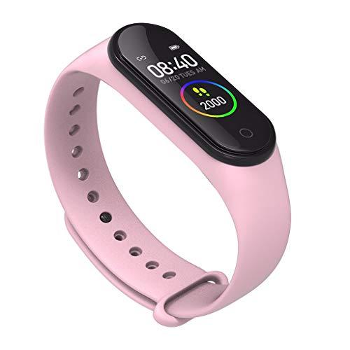 "ASHOPES MIS Band 4 IP67 0.96"" TFT Pantalla en Color Smart Pulsera Tracker de Actividad Wristband BT4.2 Monitor de Actividad (Rosado)"