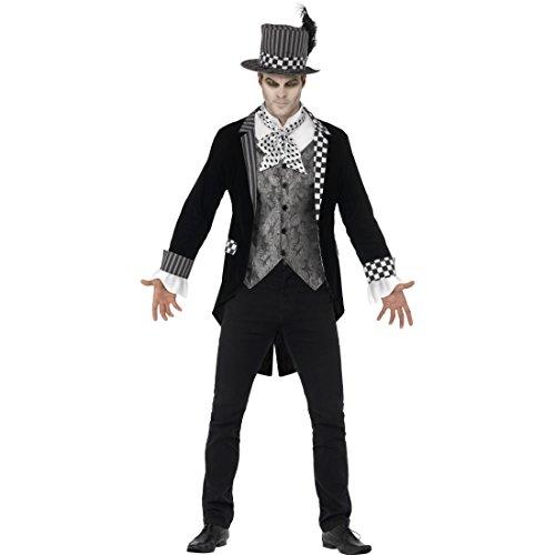Amakando Dark Hatter Halloweenkostüm - XL (56/58) - Gothic Gruselkostüm Edelmann Cosplay Outfit Herren Halloween Märchenkostüm Horror Alice im Wunderland Dunkler Hutmacher Kostüm