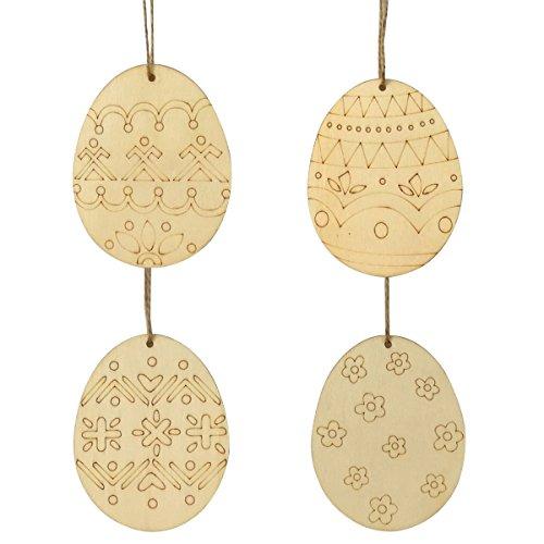 Unfertigen Holz-stücke (LUOEM 4pcs unlackiert aus Holz Ostereier Ornamente unvollendete Holz Ausschnitte aus Holz Scheiben mit Loch und Bindfäden)
