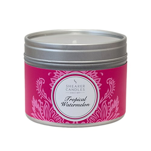 Shearer Candles Small Tropical Watermelon Scented Tin Candle with Silver Lid, Pink (2015-05-15)