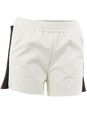 Netgozio Bermuda Pantaloncini Corti Donna Pantaloni Estivi Ecopelle Vita Elasticizzata
