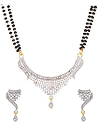 Zeneme Women Pride Cubic Zirconia Gold Plated Mangalsutra Pendant with Chain Earring Set Jewellery for Women