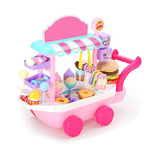 BRANDNEWS Ice Cream Toy, Candy Trolley Ice Cream Candy Vegetable Kitchen Playset...