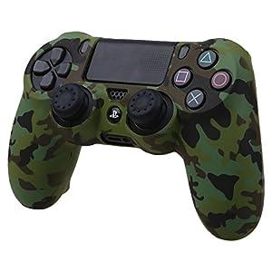 Pandaren Wassertransfer Anpassen Camouflage Silikon Hülle Anti-Rutsch für PS4 controller x 1 (Wald) + thumb grips aufsätze x 2